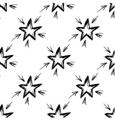 seamless pattern hand-drawn star vector image vector image