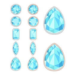 set of five forms of sapphiere cut and two kinds o vector image