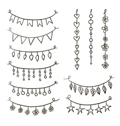 Set of hand drawn garlands vector image