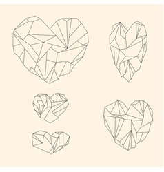 Set of mineral heart-shaped crystals vector
