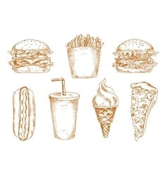 Sketches of fast food snacks vector