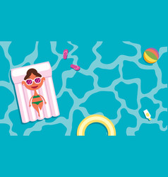 summer pool girl vector image