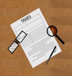 Tax form on table vector image vector image