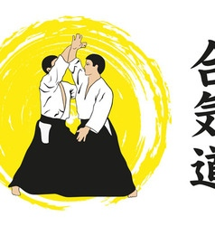 Two men show aikido vector
