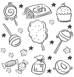 Various candy sketch of doodle style vector