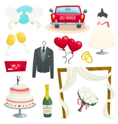 Wedding icons set collection of design elements vector