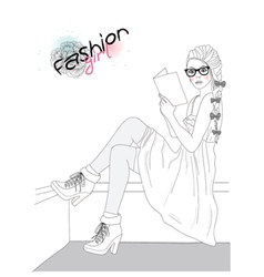 young beautiful girl fashion vector image vector image