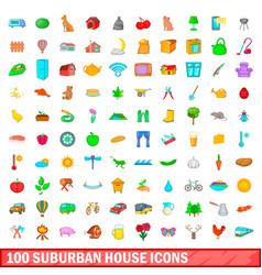100 suburban house icons set cartoon style vector image vector image