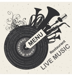 menu restaurant with live music vector image