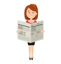 Avatar woman reading newspaper vector