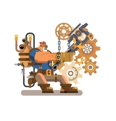 Steam engineer working vector