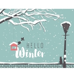 Winter cityscape with a branch of a tree vector image