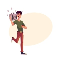 Young man dancing at party with tape recorder on vector