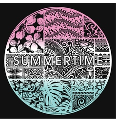 Summertime badge with hawaiian motifs vector