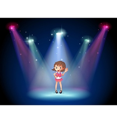 A cute young girl at the stage vector
