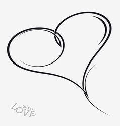 Hand drawn hearts decorative swirls vector
