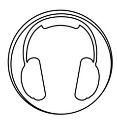 figure headphone emblem icon vector image