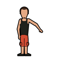 Faceless man with goatee wearing sleeveless shirt vector