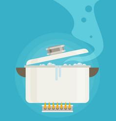 Boiling water in pan flat vector