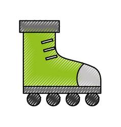 Cute scribble green roller skates vector