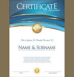 Certificate or diploma retro template vector