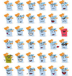 Set of bucket and beach shovel character emojis vector