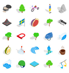 Camping in nature icons set isometric style vector