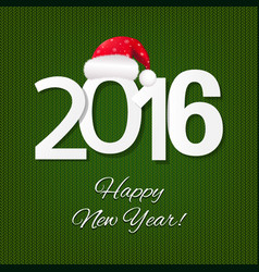 Happy new year card with santa hat vector