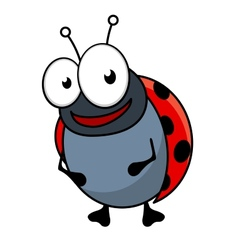 Cute little red ladybug cartoon character vector