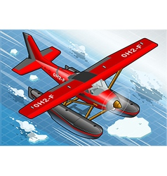 Isometric artic hydroplane in flight in front view vector