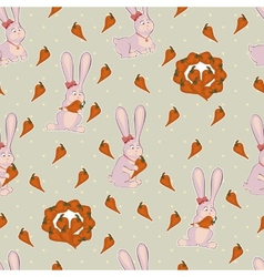 Seamless background with pink bunnies and carrots vector