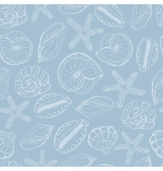 Seamless pattern with shells on blue background vector