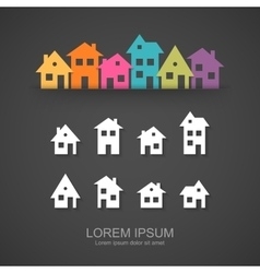 Suburban homes icon set vector image