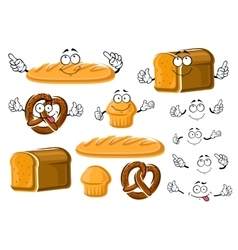 Fresh baked bread loaf cupcake and pretzel vector
