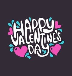 Happy Valentines Day Hand Lettering Poster vector image