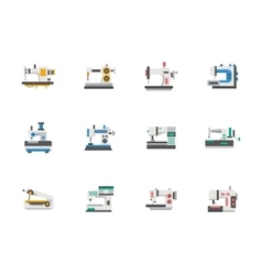 Modern flat design sewing equipment icons vector