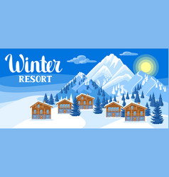 Alpine chalet houses winter resort vector