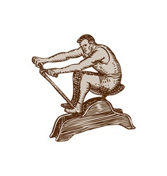 Athlete exercising vintage rowing machine etching vector