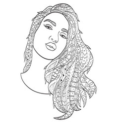 Beautiful sketch girl with long hair coloring vector