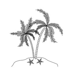 Black silhouette of island with palm trees and vector