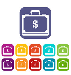Briefcase full of money icons set vector