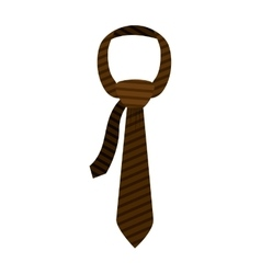 Brown tie with knot and striped vector
