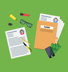 cartoon view of working place witch papers folder vector image vector image