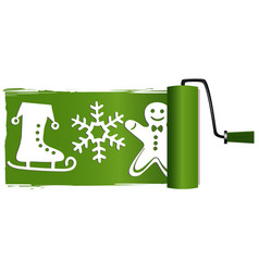 Christmas paint roller vector