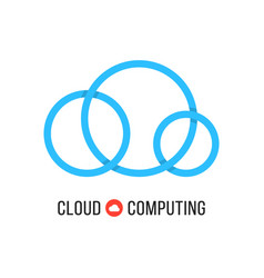 cloud computing with blue cloud from circles vector image vector image