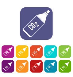 Co2 bottle icons set vector