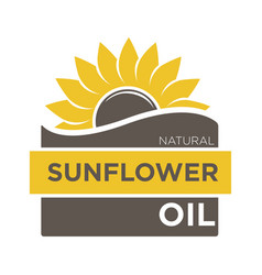 Color emblem of natural sunflower oil with yellow vector