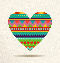 Colorful heart design in fun geometric shape style vector