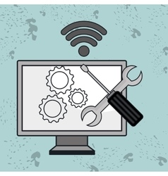 Computer pc gear wifi vector