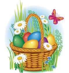 easter eggs in wicker basket vector image vector image
